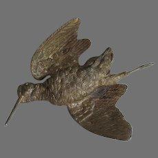 Antique Gilt Bronze Woodcock, Game Bird, Sporting, Hunting