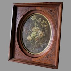 Antique c1870s Hand Carved Picture Frame, Floral Print