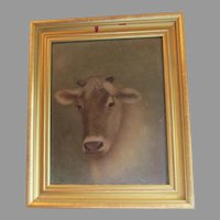 Charming Folk Art Oil Painting of a Cow, Bull