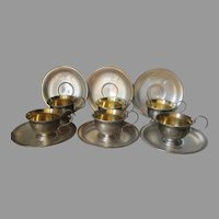 6 Russian Hallmarked Melch Silver Cup & Saucers with Engraved Flowers