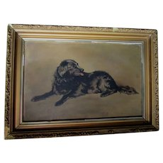 Antique Oil Painting of a Black Dog