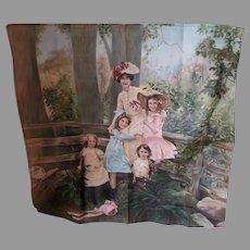 Lovely Antique c1910 Print on Linen, Victorian, Edwardian Family