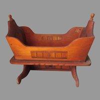 Vintage Folk Art Inlaid Wood Doll or Teddy Bear Cradle, Miniature Furniture