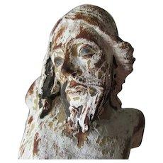 Antique Italian Hand Carved Wood Corpus, Christian Santos, Jesus Christ
