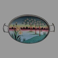 Lovely Antique Tile Serving Tray with Flowers and Trees