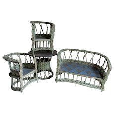 Wicker Doll Furniture, Circa 1930s, Settee,Table & Chairs, Original Paint