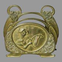 Antique Art Nouveau Letter Holder, Lady with Harp or Lyre