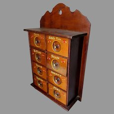 Antique Primitive Spice Cabinet, Sewing Box, Apothecary Chest