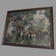 Antique German Arts & Crafts, Mission, Print of Horses, Signed