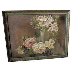Lovely Impressionistic Oil Painting of Roses, Impressionism, Signed