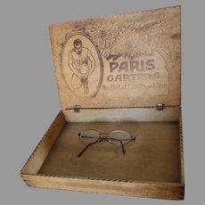 Antique Circa 1908 Advertising Display Box, Paris Men's Garters