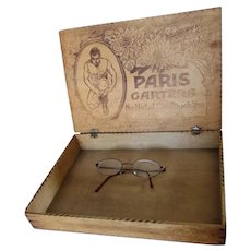 Antique Circa 1908 Advertising Display Box, Paris Men's Garters