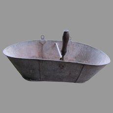 Antique Fruit Gathering Basket, Metal Garden Accessory
