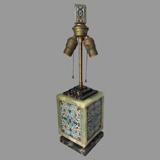 French Art Deco, Bronze, Champlevé Enamel, Marble & Alabaster Table Lamp