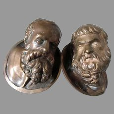 Antique Bronze Heads, Miniature Sculptures of Bearded Men