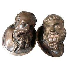 Antique Bronze Heads, Miniature Sculptures of Bearded Men