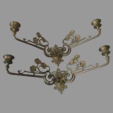 Lovely Antique Art Nouveau Poppy Flower Candle Sconces, Candlesticks