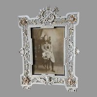 Lovely Antique Victorian Picture Frame with Cherub Angel, Original Paint