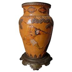 Antique Bronze & Pottery Oil Lamp Base Asian, Japanese Samurai Motif