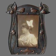 Antique Art Nouveau, Jugendstil Picture Frame with Tulip Motif