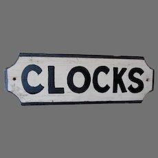Vintage Hand Painted Wood Sign, CLOCKS, Folk Art