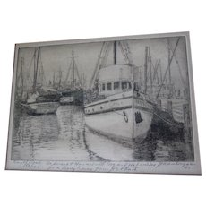 Etching, Engraving, Print of Ship in Harbor, Day of Rest, Signed