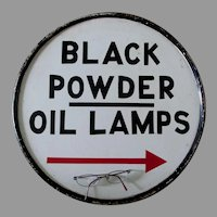 Folk Art Advertising Sign, Black Powder, Oil Lamps