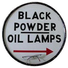 Folk Art Advertising Sign, Black Powder, Oil Lamps