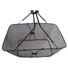 Antique Primitive Folding Wire Ware Market Basket, Kitchen Garden