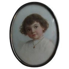 Fine Antique Miniature Painting of Child with Curly Hair