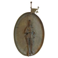 Antique Austrian Bronze Plaque of a Gothic Knight with Flag