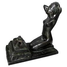 Antique Art Nouveau, Art Deco, Nude Lady Incense Burner