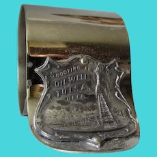 Antique Shooting an Oil Well, Silverplate Napkin Ring