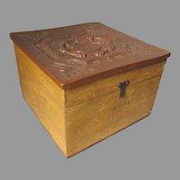 Antique c1870s Montgomery Wards Collar Box with Gutta Percha Top