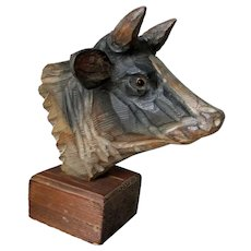 Vintage Hand Carved Cow or Bull Sculpture, Glass Eyes