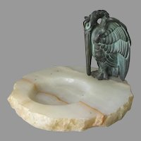 Antique Art Deco Vanity, Desk Tray with Pelican, Manner of Bach