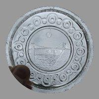 Rare Antique Sandwich EAPG Cup Plate, Niagara Bridge, Maid of the Mist