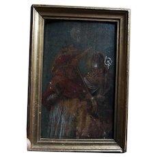 Antique European Grand Tour Painted Print, Christian Bishop & Cardinal