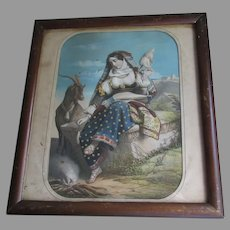 Early Antique Circa 1860 Decoupage Print of a Lady & Goat