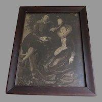 Antique Print, The Honeysuckle Bower,  Peter Paul Rubens