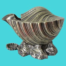 Lovely English Silverplate Sea Shell Spoon Warmer with Hallmarks