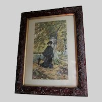 Lovely Antique c1890s Print of a Lady in Forest with Tree Bark Frame