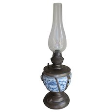 Antique Chinese Export Make Do Oil Lamp, Primitive Lighting