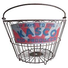 Antique Primitive Advertising Wire Ware Egg Basket, Kasco