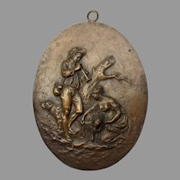 Antique Bronze Plaque Lady & Gentleman with Sheep & a Dog