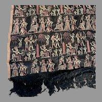 c1920s Egyptian Revival, Art Deco Shawl or Tablecloth, Anubis, Pharaohs