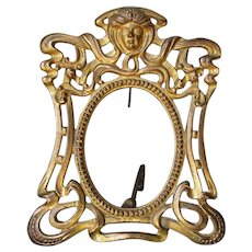 Petite Antique Art Nouveau Gilded Picture Frame with Ladies Face
