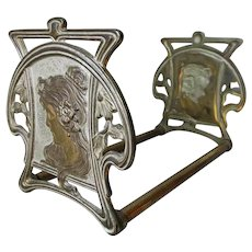 Pretty Antique Art Nouveau Bookends, Ladies with Poppy Flowers