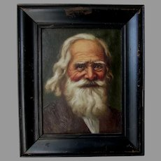 Antique Oil Painting of Elderly Gentleman, Signed