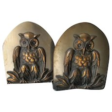 Arts & Crafts Mixed Metal Owl Bookends, Signed Jackes Evans, St Louis